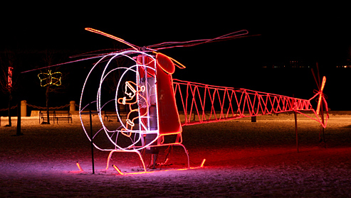 Helicopter Christmas lights - Burlington, Ontario downtown