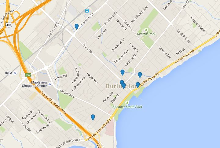 Downtown Burlington Ontario new developments map 2015