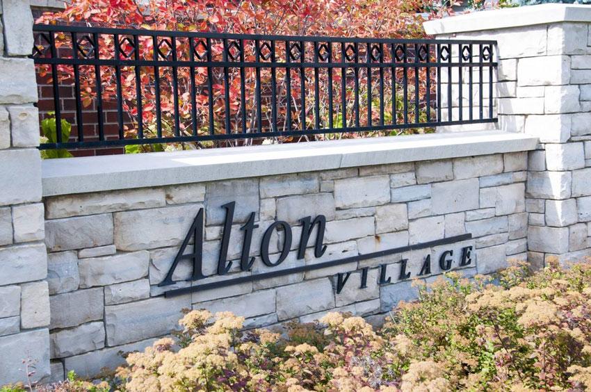 Photo of a Alton Village sign in Burlington Ontario