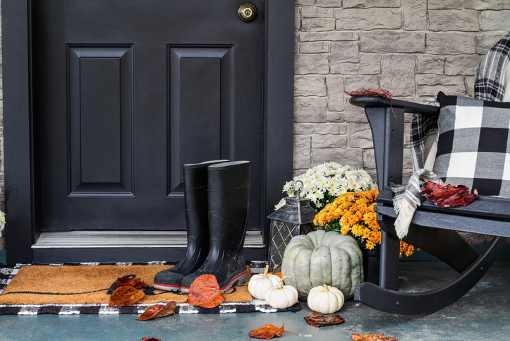 Front Porch Decorated for Autumn