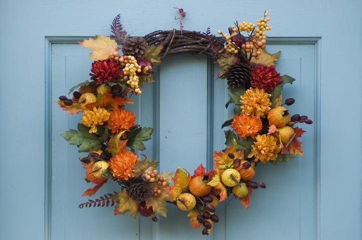 wreath on a blue door