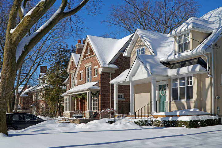 Curb Appeal houses with snow